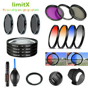 Bundle 58mm Filter Uv Cpl Nd Fld Graduated Colour Close Up Lens Hood For Canon