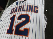 Ron Darling 12ny Mets Majestic Cool Base Home Jersey Plus 4 Free Vintage Cards