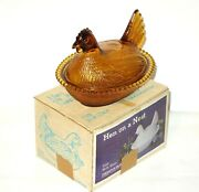 Vintage Indiana Glass Amber Hen On A Nest Chicken Covered Dish Beaded Edge