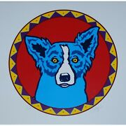 George Rodrigue Blue Dog Big Chief Blues White Red Drum Print Signed Art