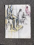 Russian Artist Alexandre Arkadevich Labas Watercolor Seated Figures Signed 1964