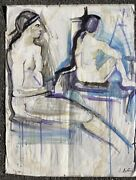 Russian Artist Alexandre Arkadevich Labas W/c. Two Seated Figures Signed 1964