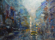 -original Painting By American Artist Jae Jung / Abstract Cityscape Jj-0130lc19