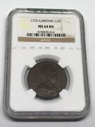 1770 Great Britain 🇬🇧 1/2 P Halfpenny Coin Ngc Ms 64 Bn King 👑 George- Rare