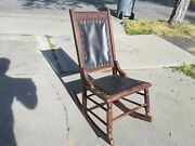 Vintage Wood And Black Leather Rocking Chair Old Primitive Decor Collectible