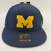 Nike Michigan Wolverines Baseball Fitted Hat Usa Flag College World Series Blue