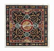 36 Black Marble Square Coffee Cafe Table Collectible Mosaic Inlay Decor H5274