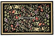 4and039x2and039 Black Marble Dining Table Various Floral Inlay Art Decor Furniture H5279
