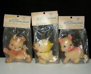3 1950`s Rempel Latex Squeaky Squeeze Toy Dog Duck And Pig Bagged Rubber Ducky