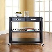 Mobile Kitchen Island Solid Granite Top Cart Storage Drawers Shelves Home Food