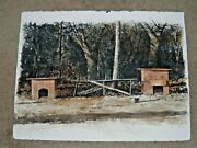 Mark Stewart Signed Original Watercolor Painting Of Bench Titled Three Friends