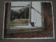 Mark Stewart Signed Original Watercolor Painting Titled The Servant Of Window