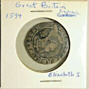 Great Britain 1594 Sixpence Silver Coin Elizabeth I