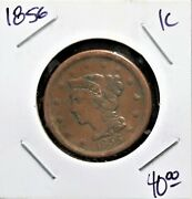 1856 1ccoins Us Large Cents Braided Hair