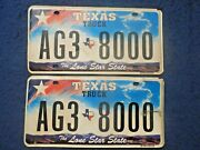 Texas Truck Ag3-8000 License Plate Pair Set Lot Agriculture The Lone Star State