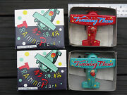 2 Vintage Wind Up Training Plane Tin Toys Ms 011 China In Box Free Shipping