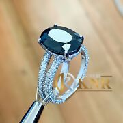 14k White Gold Oval Sapphire And Diamond Art Deco Style Ring And Band 4.50ctw