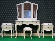 White Or Cream Five Piece Rococo Bedroom French Wood Set Dressing Table Bedside