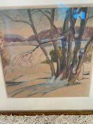 Richard Edward Miller Original Painting On Paper New Mexico Snow Tree Landscape
