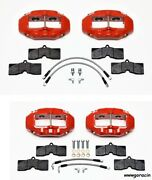 Wilwood Brake Caliperpadand Line Kitfront And Rear1965-1982 Corvette C2c3red