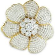 925 Sterling Silver Gold Plated Modern Flower Invisible Set Diamond Brooch Pin