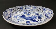 Gorgeous Antique Meissen Blue Onion 10.5 Reticulated Open Work Oval Bowl C.1815