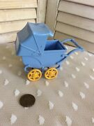 Vintage Ideal Brand Hard Plastic Small,blue Baby Doll Carriage