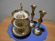 Maitland Smith 3 Tier Bowl Trinket Stand And Candle Holders Hand Made In India
