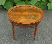 True Grand Rapids Carved French Walnut Coffee Table With Glass Top Circa 1920