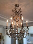Antique French Crystal Chandlier Circa1870 23 X 32 3 Tiers Nickel Plated Brass
