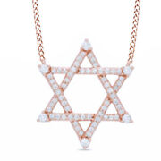 3/8 Ct Natural Diamond Star Of David Necklace In 14k Rose Gold