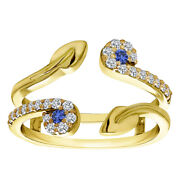 0.41 Ct Sapphire And D/vvs1 Two Stone Leaf Ring Guard Enhancer In 14k Yellow Gold