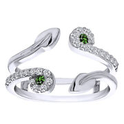 0.41 Ct Emerald And D/vvs1 Two Stone Leaf Ring Guard Enhancer In 14k White Gold
