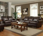 Traditional Living Room 2-piece Sofa Loveseat And Chair Couch Set Faux Leather