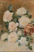 A Fine Floral Still Life Painting By William Frederick Stecher 1892, Signed U.l.