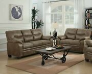 Transitional Plush 2-piece Sofa Set Couch And Loveseat Brown Faux Leather
