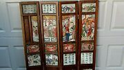 Antique 18c Chinese 4 Panel Screen W/4 Marble Finely Painted Both Side Panels 2