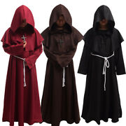 Medieval Monk Hooded Robe Middle Ages Clergy Priest Halloween Cosplay Costume