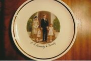 Vintage President John F. Kennedy And Family Collectible Plate With Display Stand