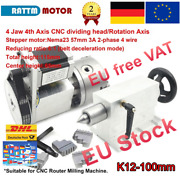 「de」 Cnc 4th Achse Drehachse Rotational Rotary Axis 4 Jaw K12-100mm W/ Reitstock