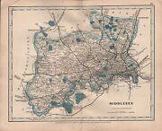1875 Antique Cruchley County Map Railways Stations Middlesex Staines Enfield
