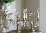 Pair Antique French Crystal Girandole Table Lamps Beautiful Boudoir Lamps