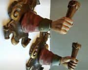 Pair Antique Italian Wood Hand Carved Hand Sconces Rare And Gorgeous