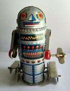 Painted Tin Robot 7 Walking Wind-up Toy