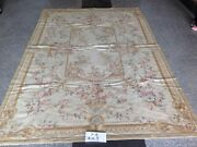 6and039 X 9and039 Shabby Chic Needlepoint Rug Tapestry Victorian Blooming Rose Vtg