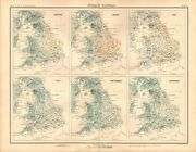 1898 Antique Map - England And Wales Average Rainfall Average Temperature 2 Maps