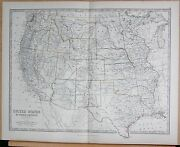 1874 Large Antique Map - Johnston- United States Of North America Western