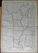 1860 Large Antique Map - United States, The Valley Of The Mississippi