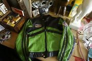 Vintage Green Leather Motorcycle Jacket W/ Patches + Harley Davidson + Wiseco