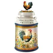 Country Morning Rooster Cookie Jar With Cookie Cutter By Bradford Exchange